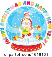 Clipart Of A Merry Christmas And Happy New Year Greeting With A Snowman In A Snow Globe Royalty Free Vector Illustration