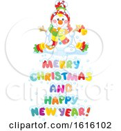 Clipart Of A Snowman With Merry Christmas And Happy New Year Text Royalty Free Vector Illustration