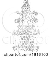 Black And White Snowman With Merry Christmas And Happy New Year Text