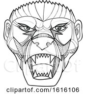 Clipart Of A Mono Line Head Of An Angry Honey Badger Or Ratel Royalty Free Vector Illustration by patrimonio