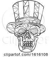 Clipart Of A Black And White Mosaic Low Polygon Skull Uncle Sam Royalty Free Vector Illustration