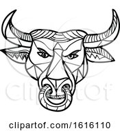 Clipart Of A Black And White Mosaic Low Polygon Texas Longhorn Bull With Nose Ring Royalty Free Vector Illustration