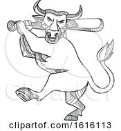 Clipart Of A Mono Line Texas Longhorn Bull Batting Royalty Free Vector Illustration