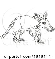 Clipart Of A Black And White Mosaic Low Polygon Aardvark Royalty Free Vector Illustration