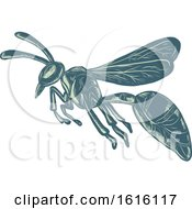 Clipart Of A Scratchboard Style Wasp Yellowjacket Or Hornet Flying Royalty Free Vector Illustration