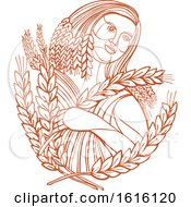 Clipart Of A Mono Line Style Of Demeter The Goddess Of The Harvest And Presides Over Grains And The Fertility Of The Earth Royalty Free Vector Illustration