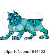 Clipart Of A Mosaic Low Polygon Style Bobcat Lynx Royalty Free Vector Illustration