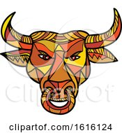 Clipart Of A Mosaic Low Polygon Texas Longhorn Bull With Nose Ring Royalty Free Vector Illustration