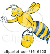 Clipart Of A Sketched Bee Waving And Carrying A Pail Of Dripping Honey Royalty Free Vector Illustration