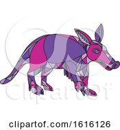 Clipart Of A Mosaic Low Polygon Aardvark Royalty Free Vector Illustration