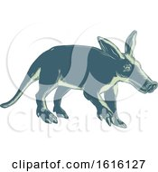 Clipart Of A Scratchboard Style Aardvark Royalty Free Vector Illustration by patrimonio
