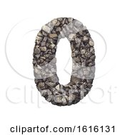 Gravel Number 0 3d Crushed Rock Digit Nature Environment On A White Background