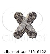 Gravel Letter X Small 3d Crushed Rock Font Nature Environme On A White Background
