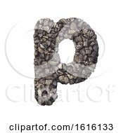 Gravel Letter P Lowercase 3d Crushed Rock Font Nature Envir On A White Background