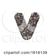 Gravel Letter V Lowercase 3d Crushed Rock Font Nature Envir On A White Background
