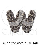 Gravel Letter W Lower Case 3d Crushed Rock Font Nature Envi On A White Background