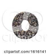 Gravel Letter O Small 3d Crushed Rock Font Nature Environme On A White Background
