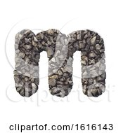 Gravel Letter M Lowercase 3d Crushed Rock Font Nature Envir On A White Background