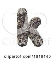 Gravel Letter K Lower Case 3d Crushed Rock Font Nature Envi On A White Background