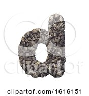 Gravel Letter D Lowercase 3d Crushed Rock Font Nature Envir On A White Background