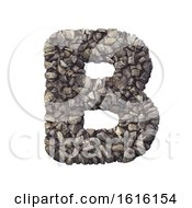 Gravel Letter B Capital 3d Crushed Rock Font Nature Environ On A White Background