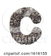 Gravel Letter C Capital 3d Crushed Rock Font Nature Environ On A White Background