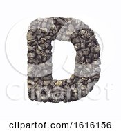 Gravel Letter D Capital 3d Crushed Rock Font Nature Environ On A White Background