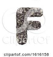 Gravel Letter F Upper Case 3d Crushed Rock Font Nature Envi On A White Background