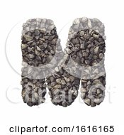 Gravel Letter M Capital 3d Crushed Rock Font Nature Environ On A White Background