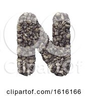 Gravel Letter N Capital 3d Crushed Rock Font Nature Environ On A White Background
