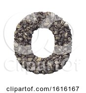 Gravel Letter O Upper Case 3d Crushed Rock Font Nature Envi On A White Background by chrisroll