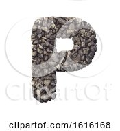 Gravel Letter P Upper Case 3d Crushed Rock Font Nature Envi On A White Background by chrisroll