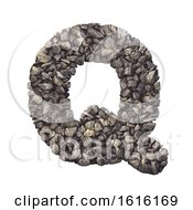 Gravel Letter Q Upper Case 3d Crushed Rock Font Nature Envi On A White Background by chrisroll