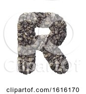Gravel Letter R Uppercase 3d Crushed Rock Font Nature Envir On A White Background by chrisroll