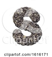 Gravel Letter S Uppercase 3d Crushed Rock Font Nature Envir On A White Background by chrisroll