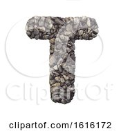 Gravel Letter T Uppercase 3d Crushed Rock Font Nature Envir On A White Background