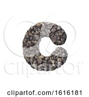 Gravel Letter C Small 3d Crushed Rock Font Nature Environme On A White Background