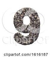 Gravel Number 9 3d Crushed Rock Digit Nature Environment On A White Background