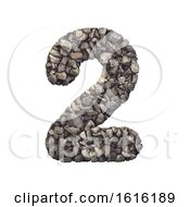 Gravel Number 2 - 3d Crushed Rock Digit - Nature, Environment,, on a white background by chrisroll #COLLC1616189-0134
