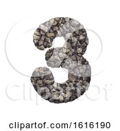 Gravel Number 3 3d Crushed Rock Digit Nature Environment On A White Background by chrisroll