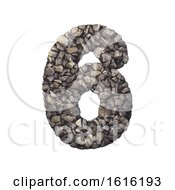 Gravel Number 6 - 3d Crushed Rock Digit - Nature, Environment,, on a white background by chrisroll #COLLC1616193-0134