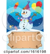 Clipart Of A Festive Snowman Having A Party Over A Scroll Royalty Free Vector Illustration