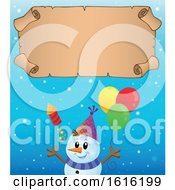 Clipart Of A Festive Snowman Having A Party Under A Scroll Royalty Free Vector Illustration
