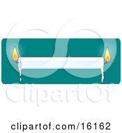 White Candle Lit At Both Ends And Melting Wax Dripping Clipart Illustration Image