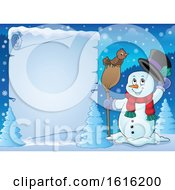 Clipart Of A Border Of A Snowman Tipping His Hat And Standing With A Bird On A Broom Royalty Free Vector Illustration