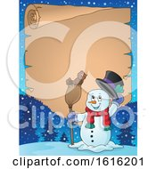 Poster, Art Print Of Border Of A Snowman Tipping His Hat And Standing With A Bird On A Broom