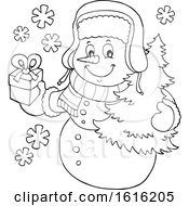 Lineart Christmas Snowman Carrying A Tree And Present