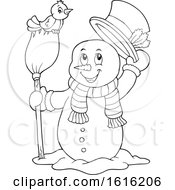 Clipart Of A Lineart Snowman Tipping His Hat And Standing With A Bird On A Broom Royalty Free Vector Illustration