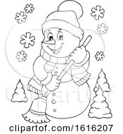 Clipart Of A Lineart Happy Snowman Sweeping Royalty Free Vector Illustration