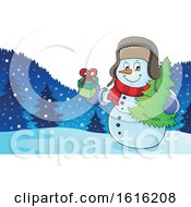 Christmas Snowman Carrying A Tree And Gift